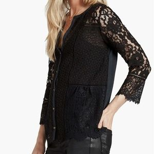 Lucky Brand Lace Mix 3/4 Sleeve Scallop Hem Top M